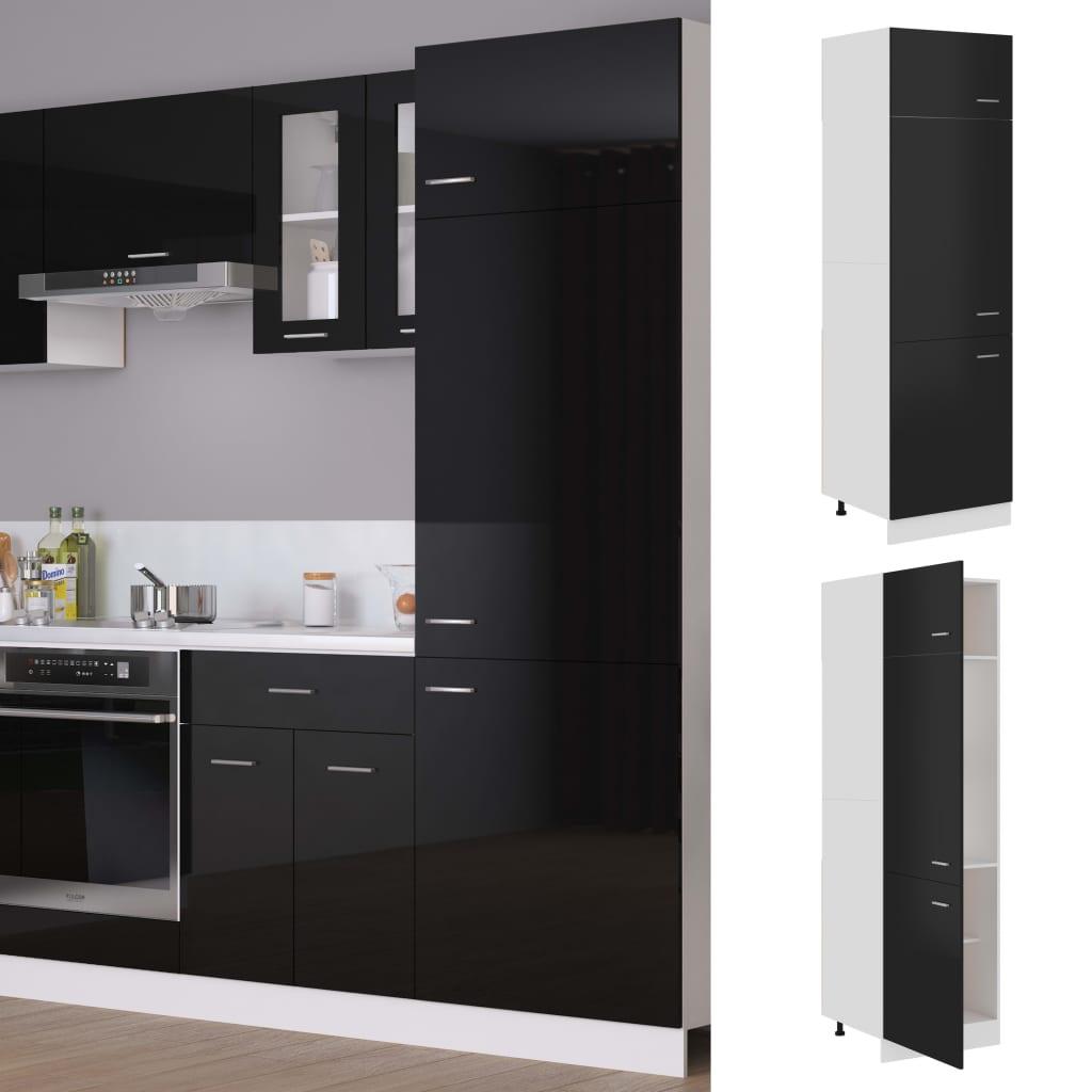 vidaXL Dulap pentru frigider, negru extralucios, 60 x 57 x 207 cm, PAL poza 2021 vidaXL