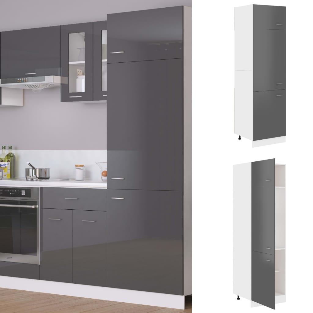 vidaXL Dulap pentru frigider, gri extralucios, 60 x 57 x 207 cm, PAL poza 2021 vidaXL