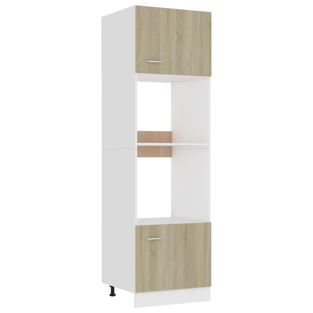 vidaXL Dulap cuptor microunde, stejar Sonoma, 60 x 57 x 207 cm, PAL poza 2021 vidaXL