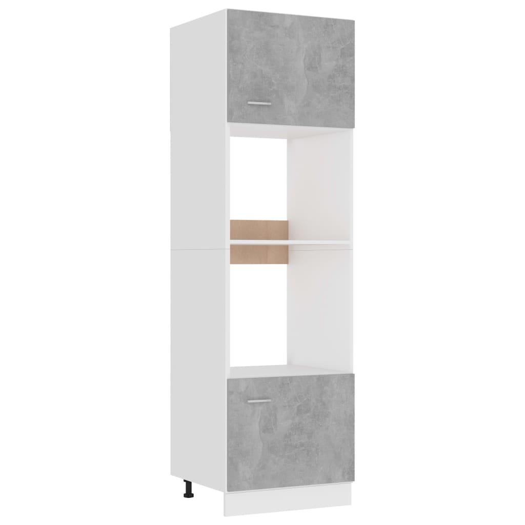 vidaXL Dulap de cuptor cu microunde, gri beton, 60 x 57 x 207 cm, PAL vidaxl.ro
