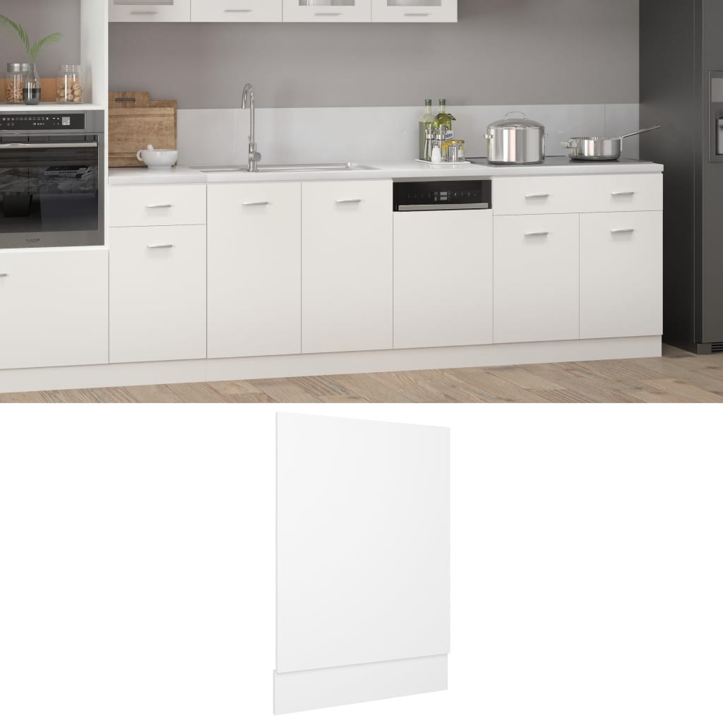 vidaXL frontpanel til opvaskemaskine 45x3x67 cm spånplade hvid