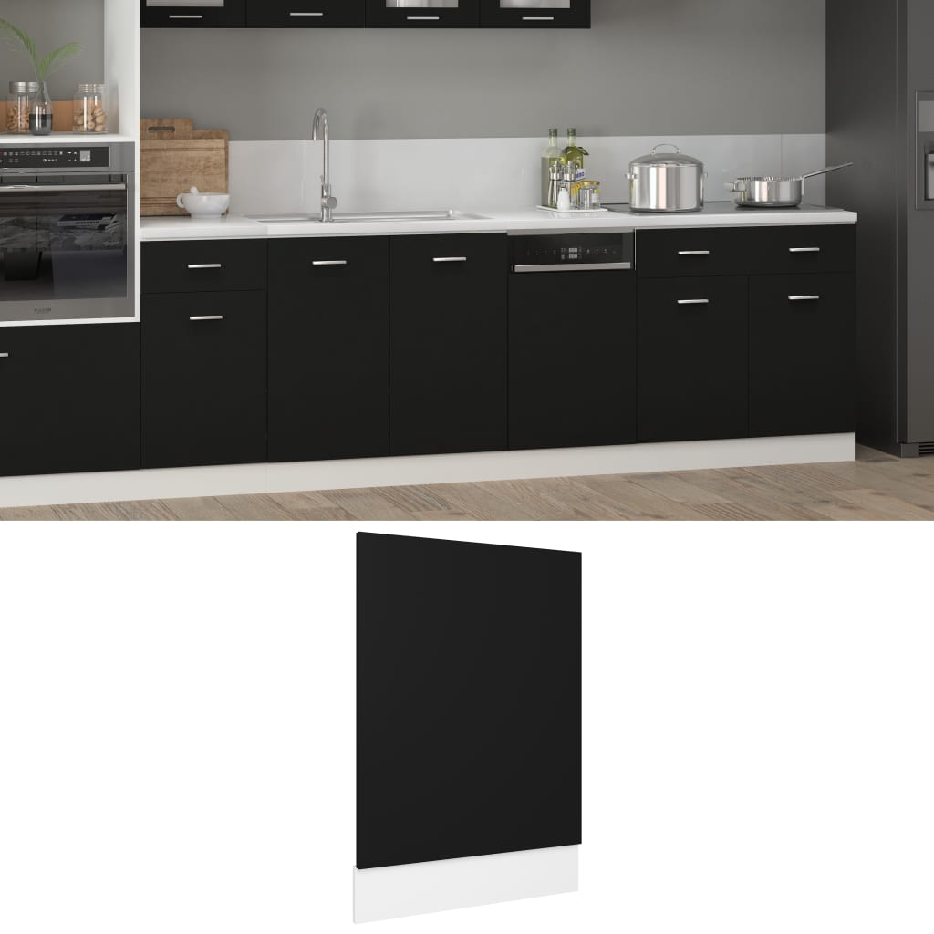 vidaXL Panou mașină de spălat vase, negru, 45 x 3 x 67 cm, PAL poza 2021 vidaXL