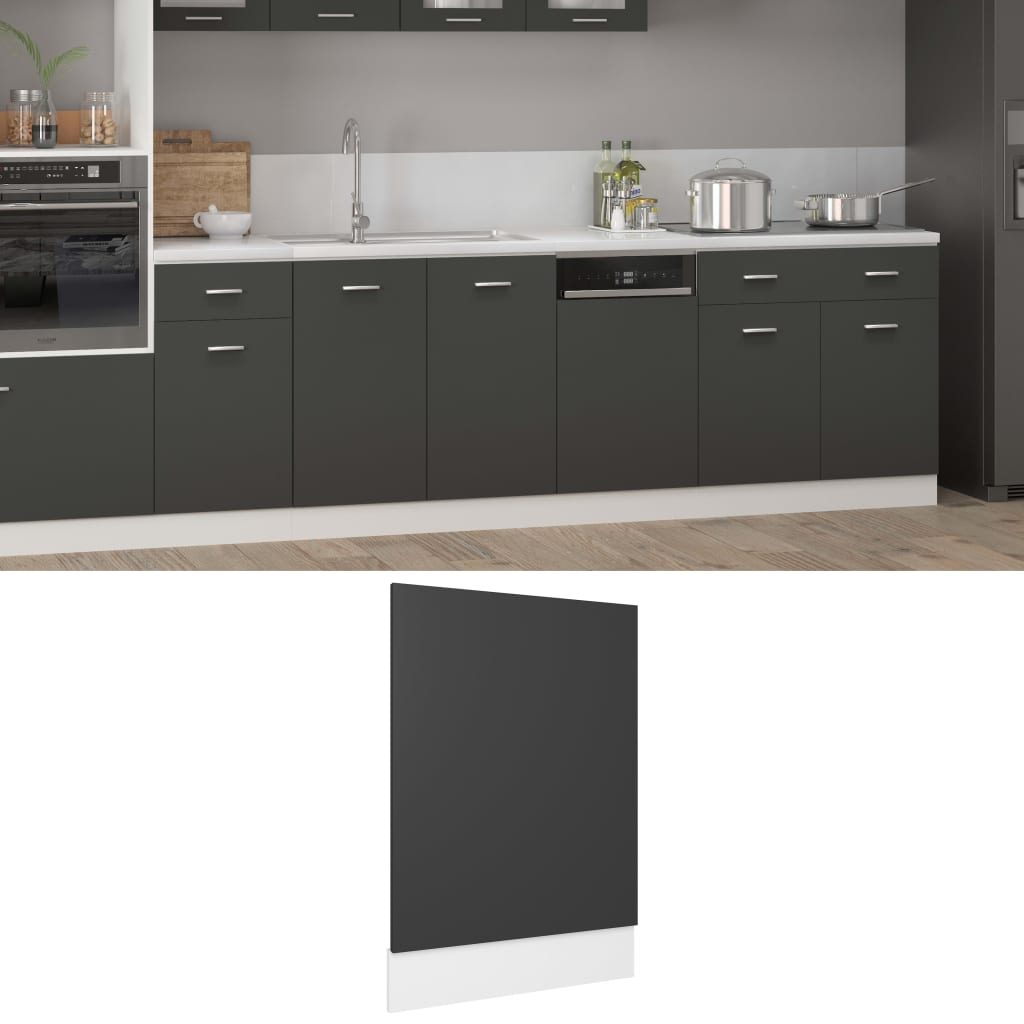 vidaXL frontpanel til opvaskemaskine 45x3x67 cm spånplade grå
