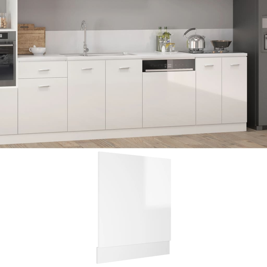 vidaXL frontpanel opvaskemaskine 59,5x3x67 cm spånplade hvid højglans