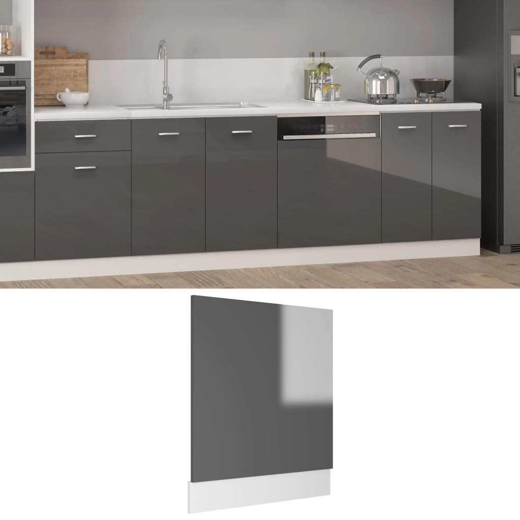 vidaXL frontpanel opvaskemaskine 59,5x3x67 cm spånplade grå højglans
