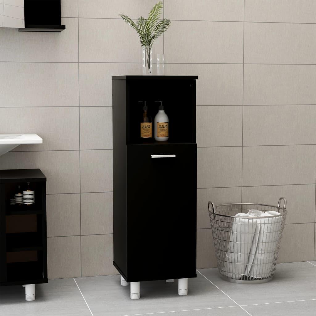 Koupelnová skříňka černá 30 x 30 x 95 cm dřevotříska