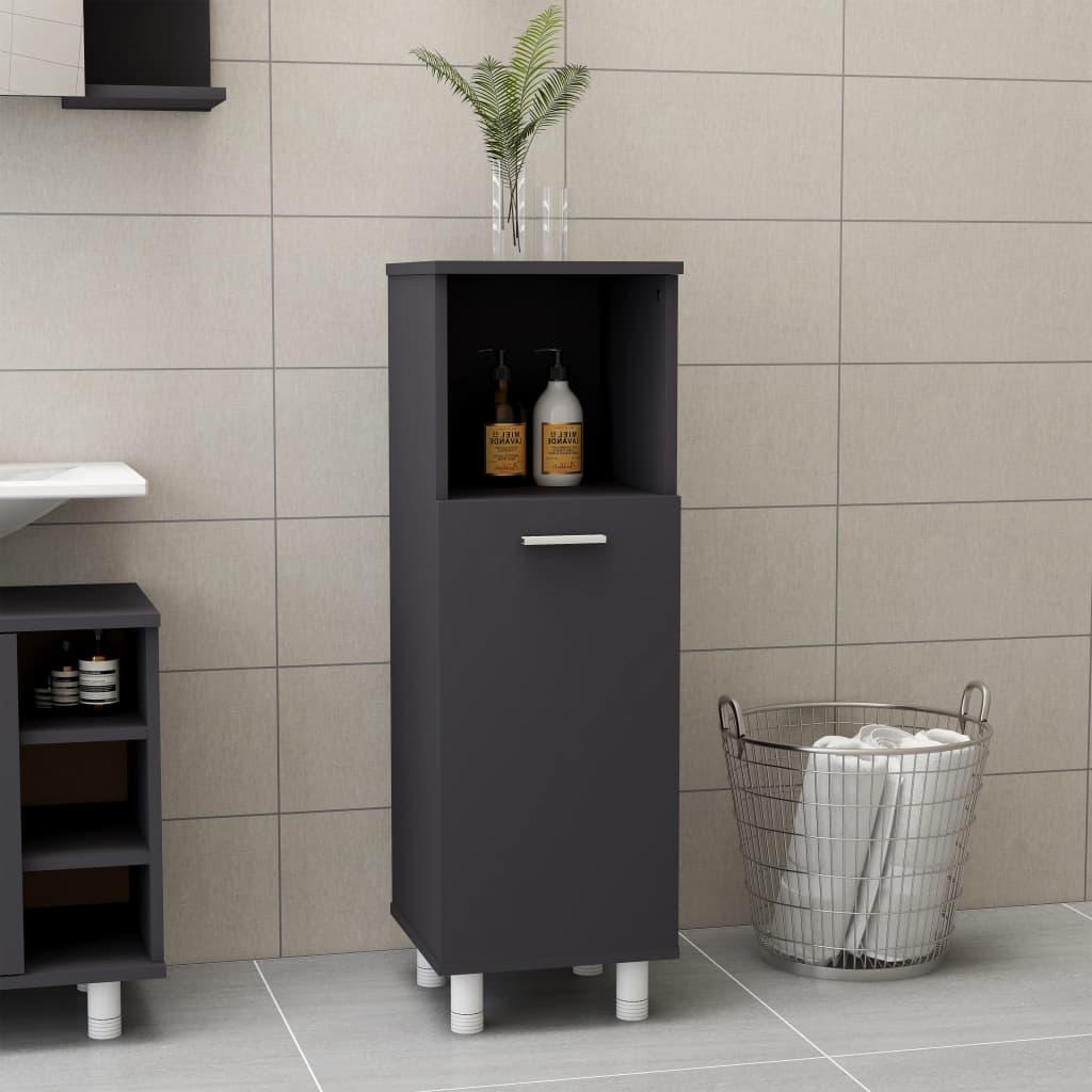 Koupelnová skříňka šedá 30 x 30 x 95 cm dřevotříska