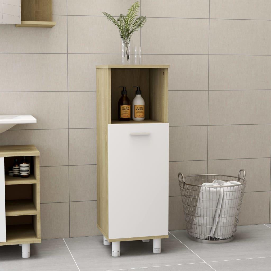 Koupelnová skříňka bílá dub sonoma 30 x 30 x 95 cm dřevotříska