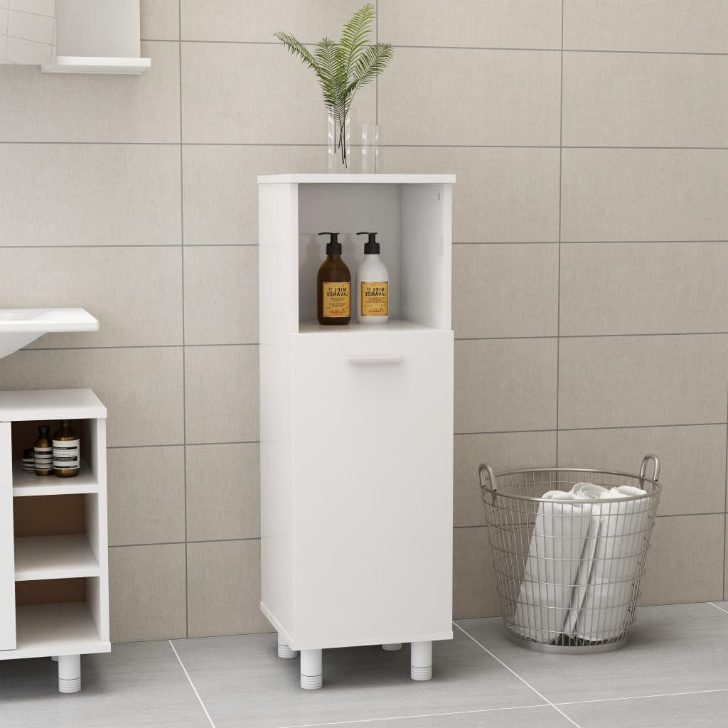 Koupelnová skříňka bílá vysoký lesk 30 x 30 x 95 cm dřevotříska