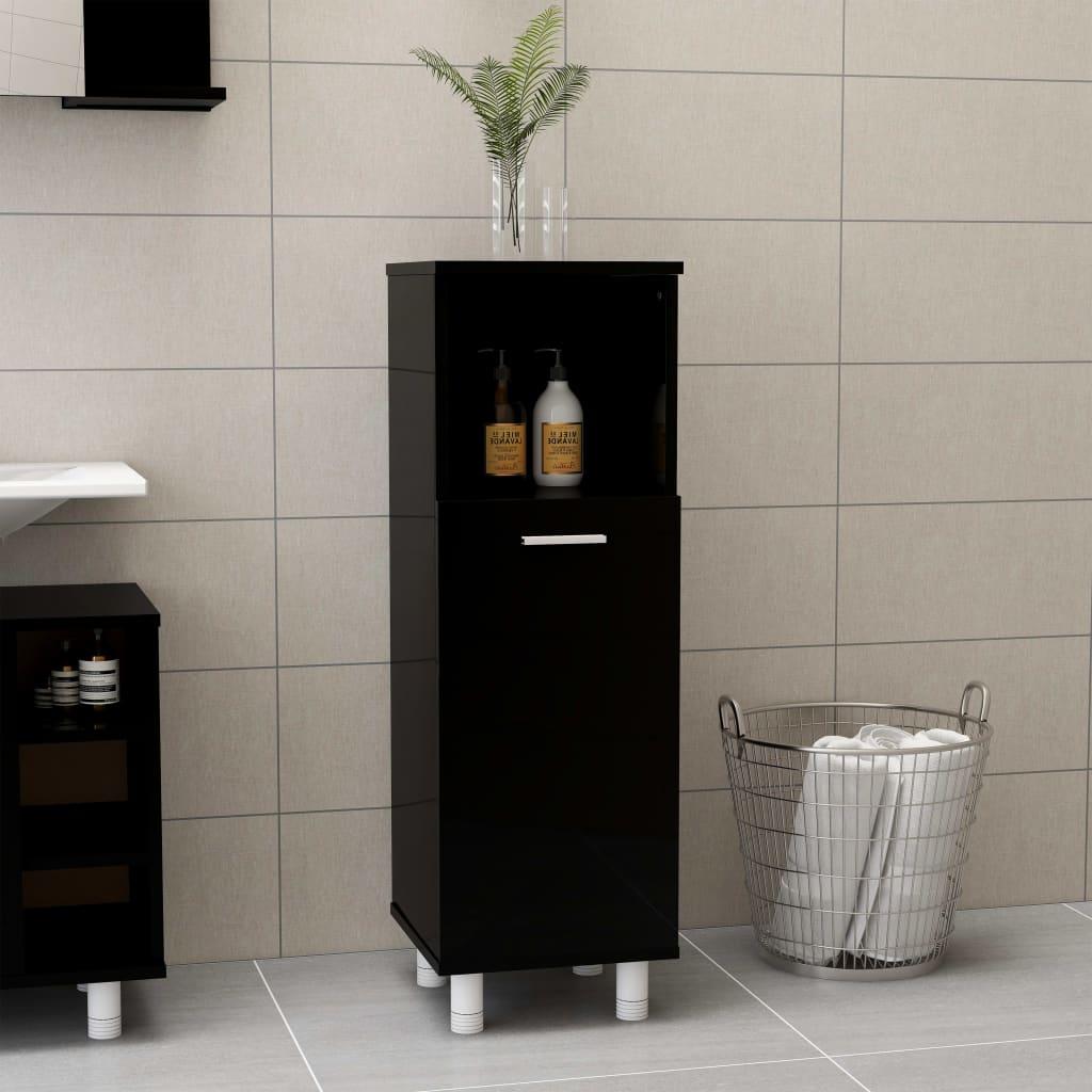 Koupelnová skříňka černá vysoký lesk 30x30x95 cm dřevotříska