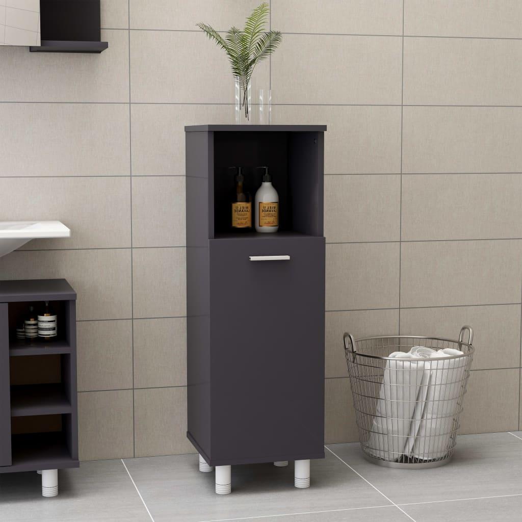 Koupelnová skříňka šedá vysoký lesk 30 x 30 x 95 cm dřevotříska