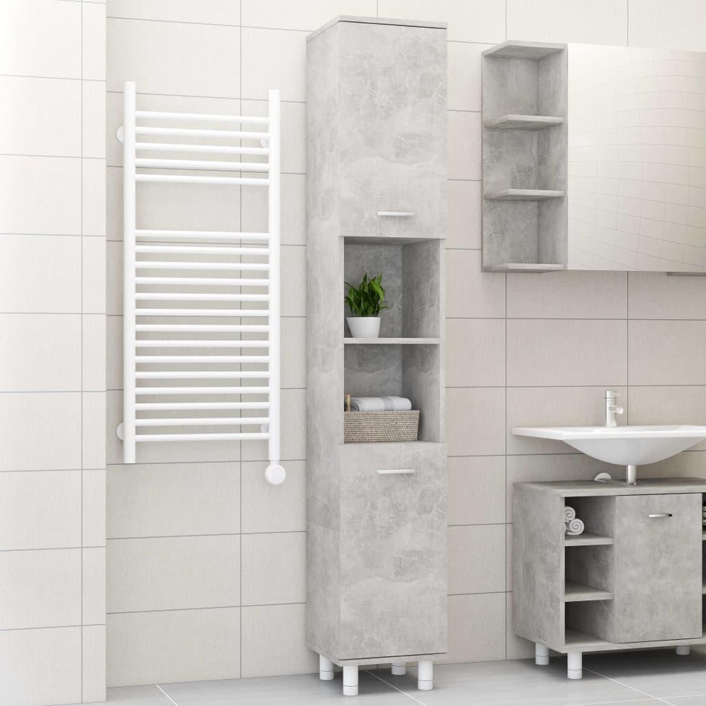 vidaXL Dulap de baie, gri beton, 30 x 30 x 179 cm, PAL