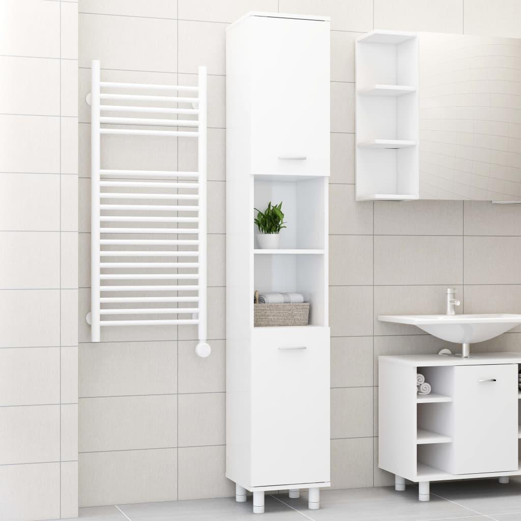 vidaXL Dulap de baie, alb extralucios, 30 x 30 x 179 cm, PAL imagine vidaxl.ro