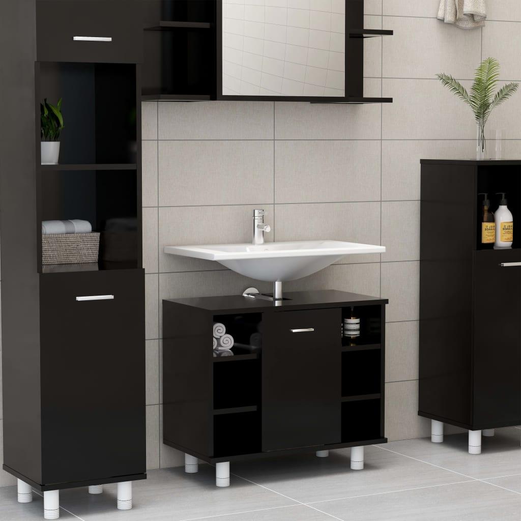 vidaXL Dulap de baie, negru, 60 x 32 x 53,5 cm, PAL poza vidaxl.ro