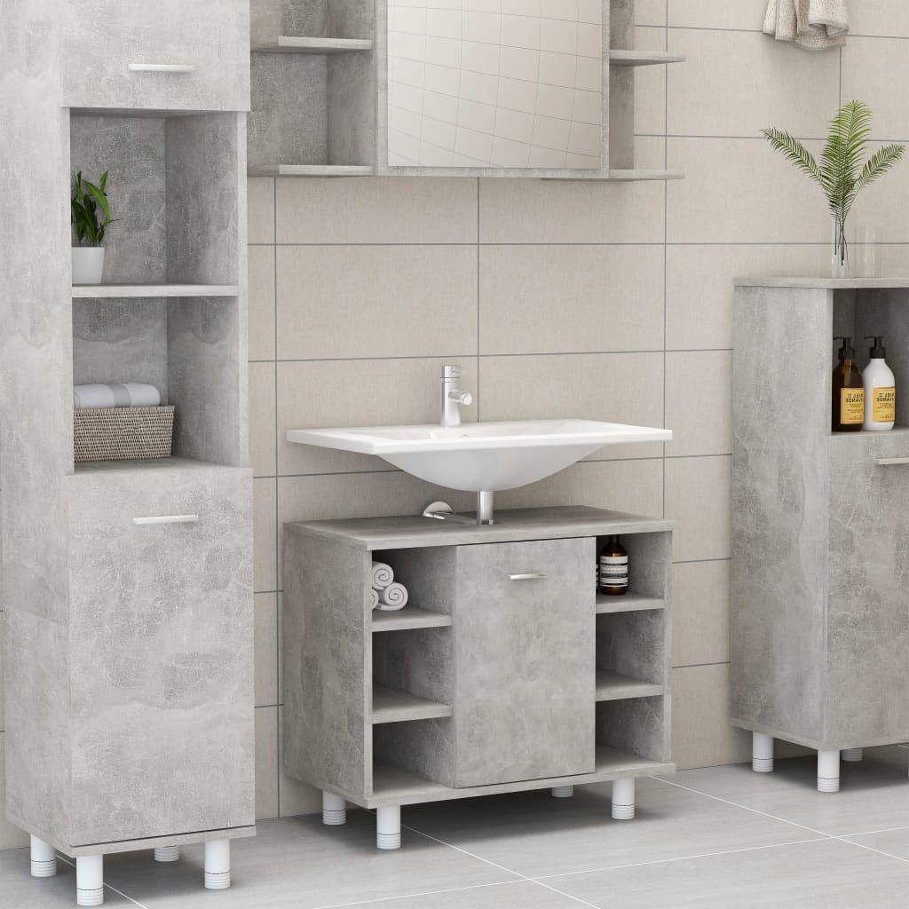 vidaXL Dulap de baie, gri beton, 60 x 32 x 53,5 cm, PAL vidaxl.ro