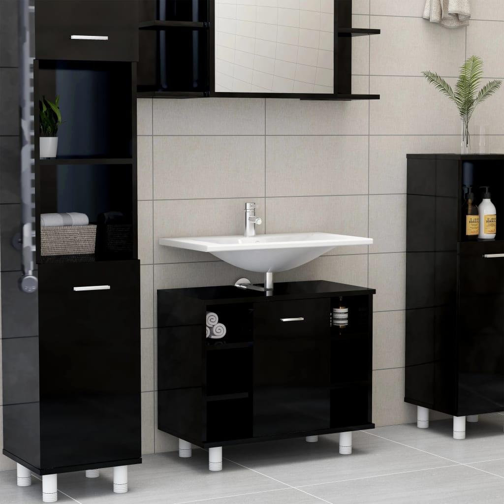vidaXL Dulap de baie, negru extralucios, 60 x 32 x 53,5 cm, PAL poza 2021 vidaXL