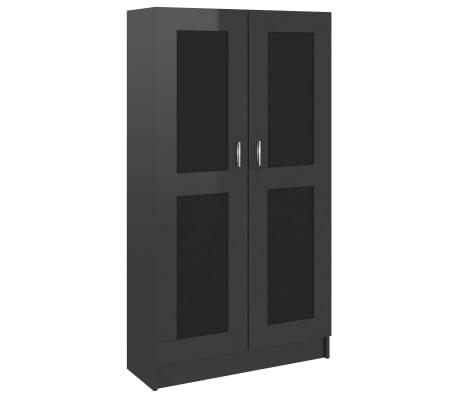 vidaXL Boekenkast 82,5x30,5x150 cm spaanplaat hoogglans zwart