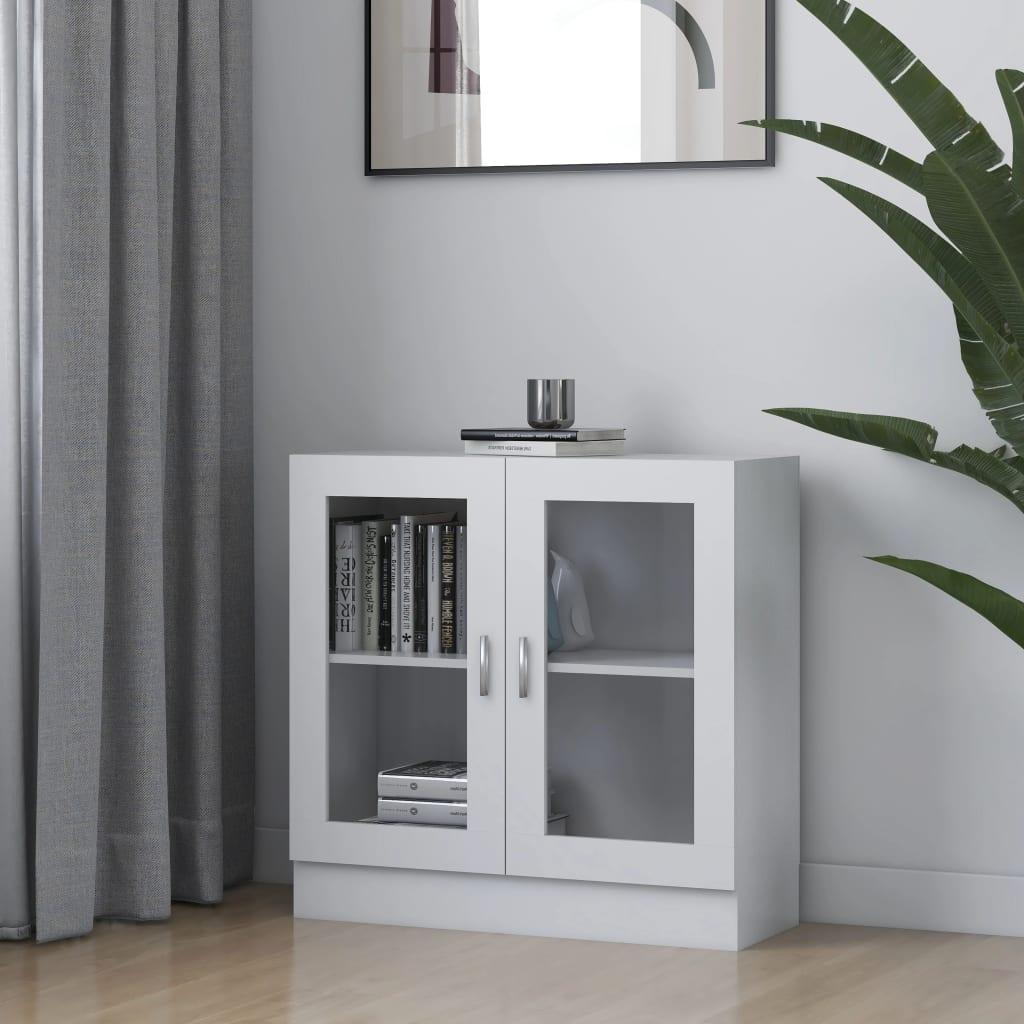 vidaXL Dulap cu vitrină, alb, 82,5 x 30,5 x 80 cm, PAL poza vidaxl.ro