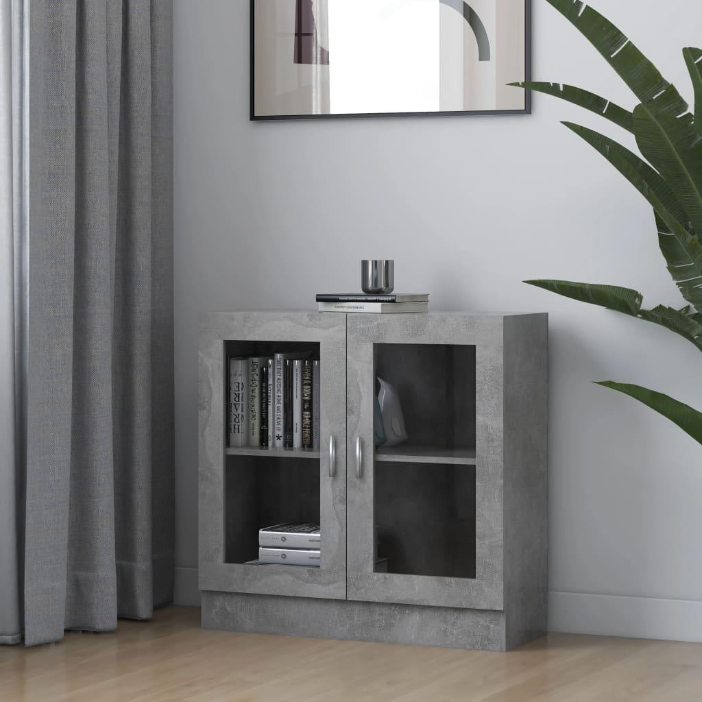 vidaXL Dulap cu vitrină, gri beton, 82,5 x 30,5 x 80 cm, PAL poza vidaxl.ro