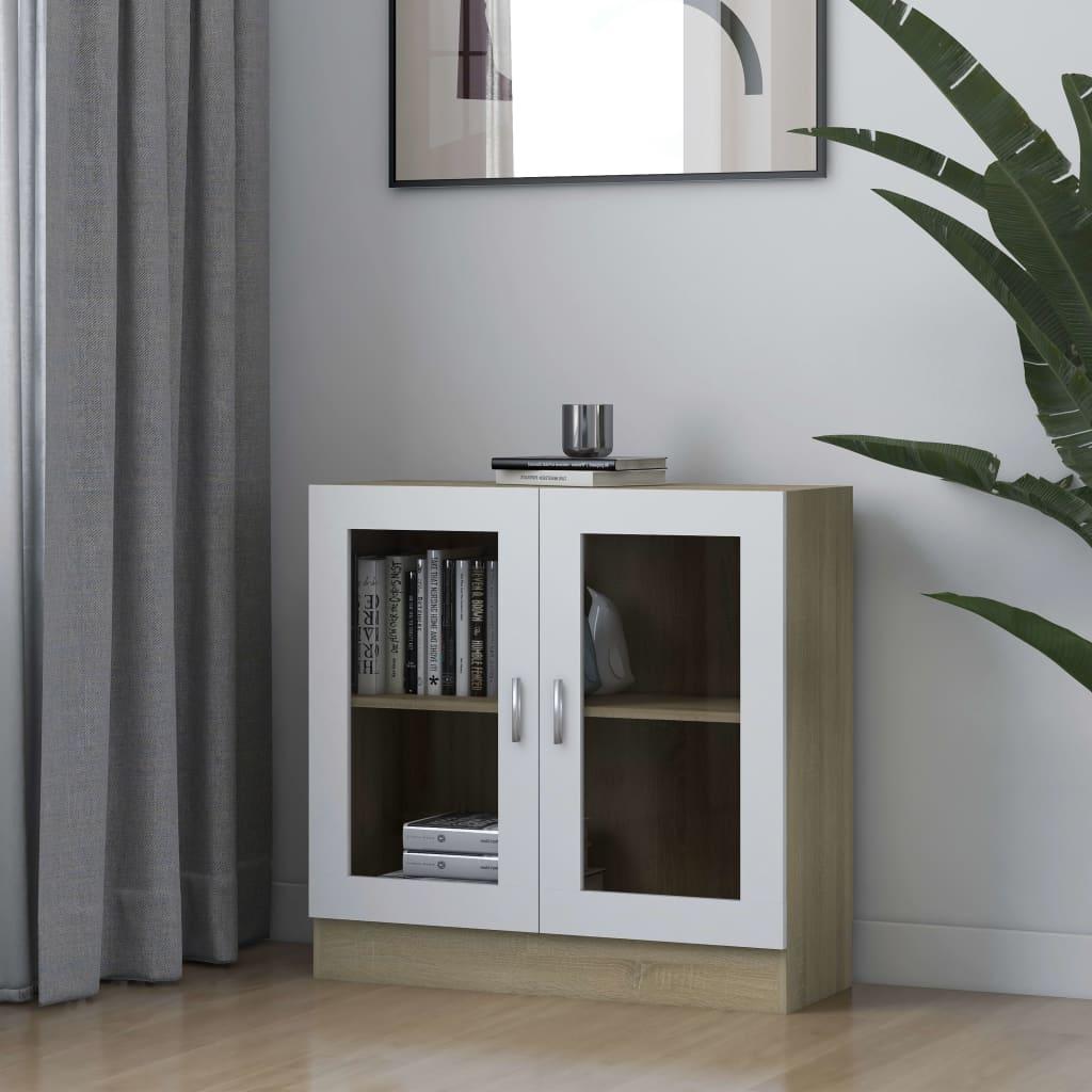 vidaXL Dulap cu vitrină, alb & stejar Sonoma, 82,5 x 30,5 x 80 cm, PAL vidaxl.ro