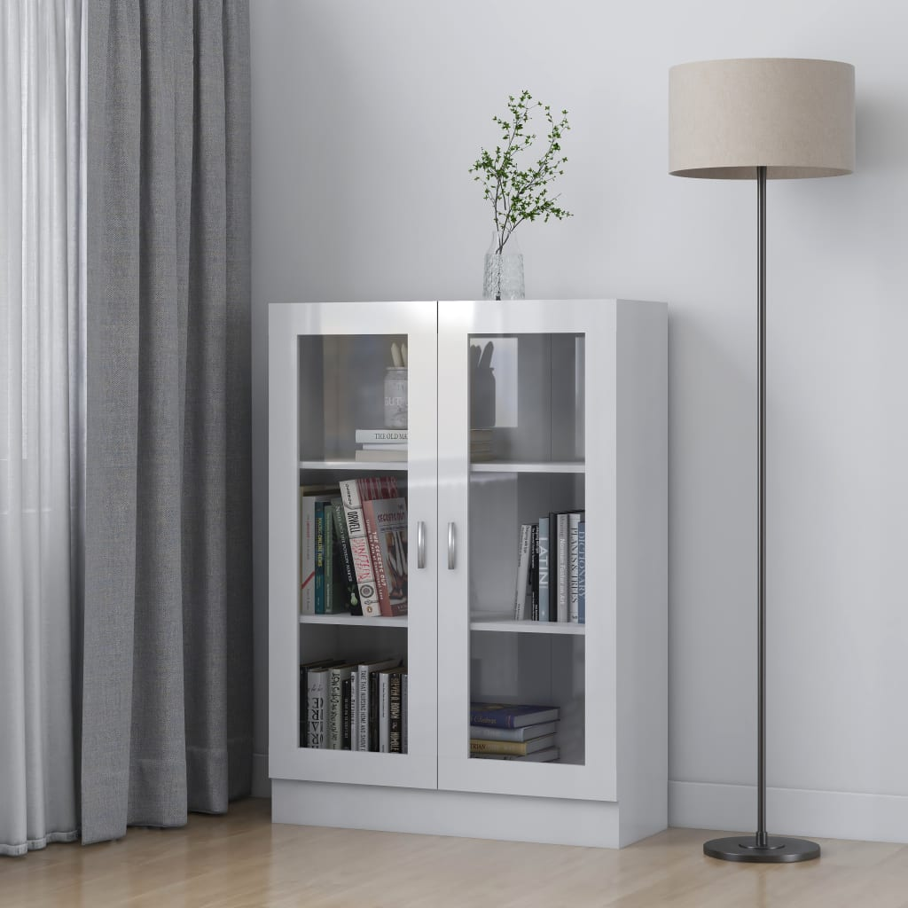 vidaXL Dulap cu vitrină, alb extralucios, 82,5 x 30,5 x 115 cm, PAL vidaxl.ro