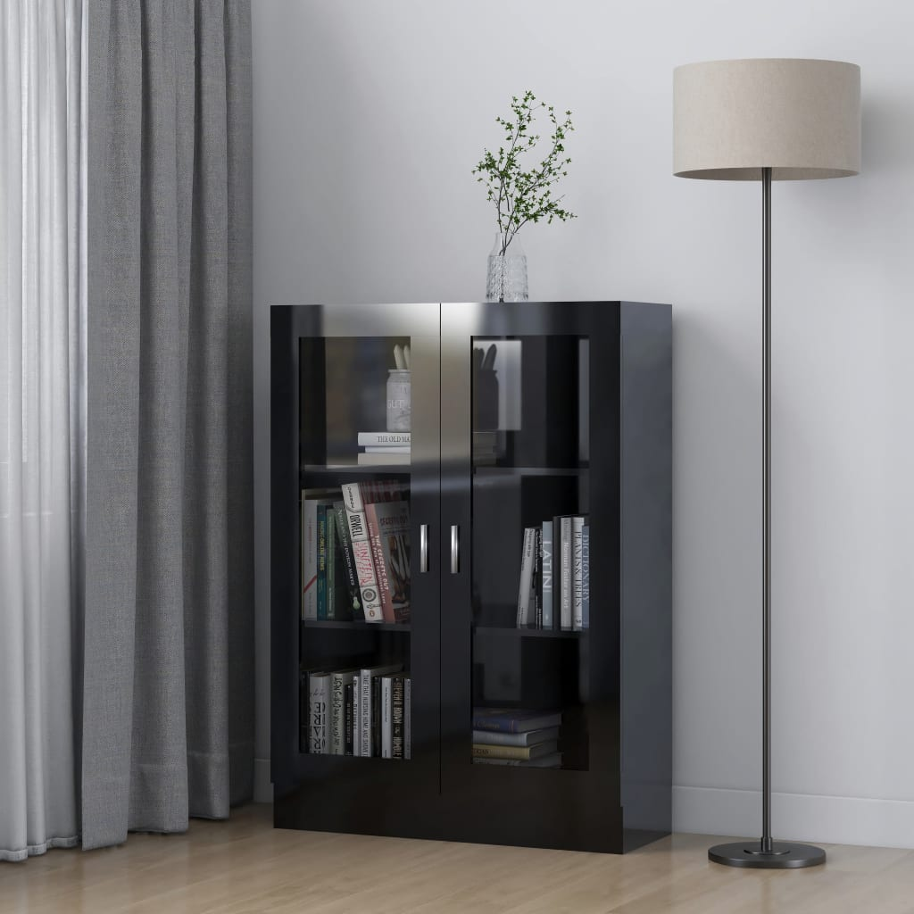 vidaXL Dulap cu vitrină, negru extralucios, 82,5 x 30,5 x 115 cm, PAL imagine vidaxl.ro
