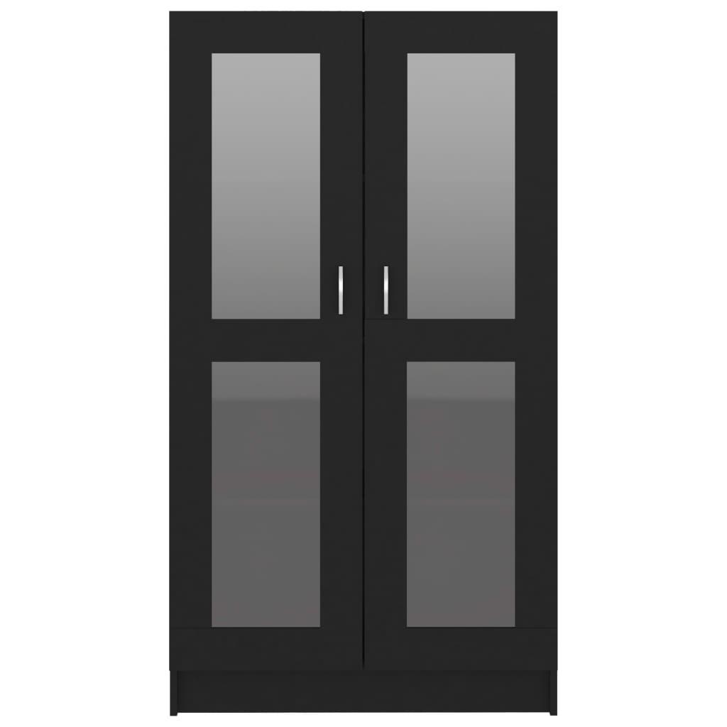vidaXL Vitrinekast 82,5x30,5x150 cm spaanplaat zwart
