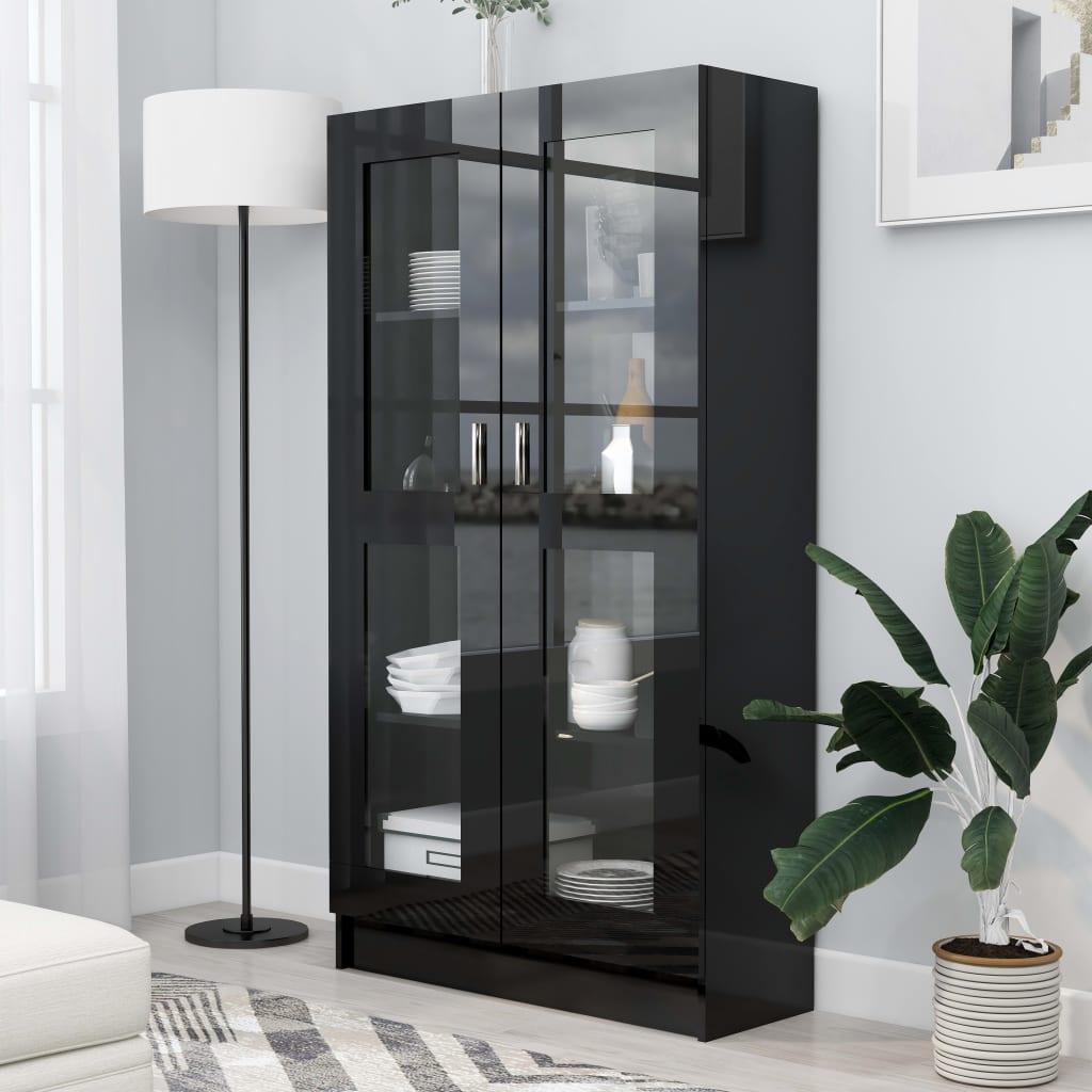 vidaXL Dulap cu vitrină, negru extralucios, 82,5 x 30,5 x 150 cm, PAL poza vidaxl.ro