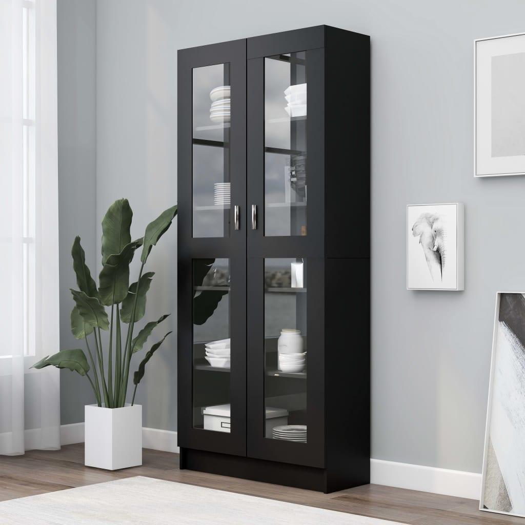 vidaXL Dulap cu vitrină, negru, 82,5 x 30,5 x 185,5 cm, PAL poza vidaxl.ro