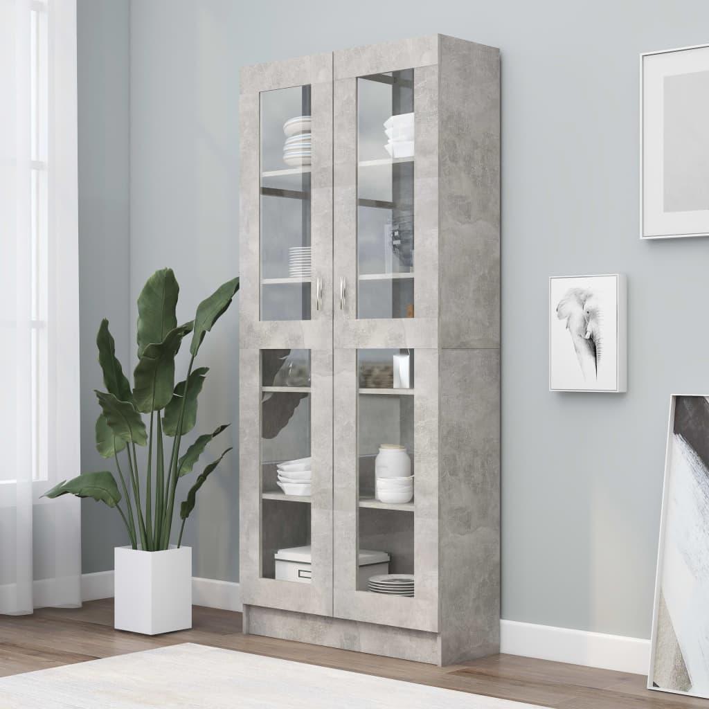 vidaXL Dulap cu vitrină, gri beton, 82,5 x 30,5 x 185,5 cm, PAL poza vidaxl.ro
