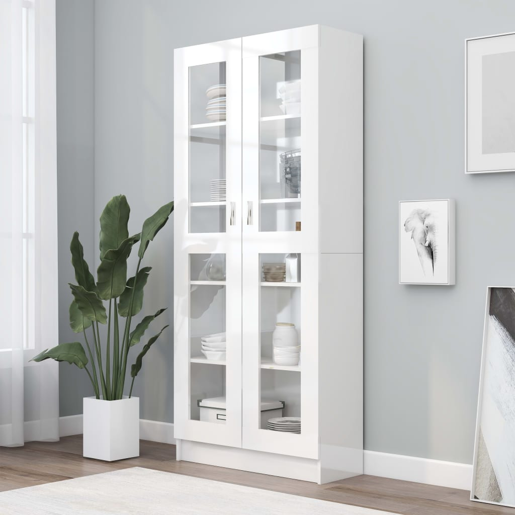vidaXL Dulap cu vitrină, alb extralucios, 82,5 x 30,5 x 185,5 cm, PAL poza vidaxl.ro