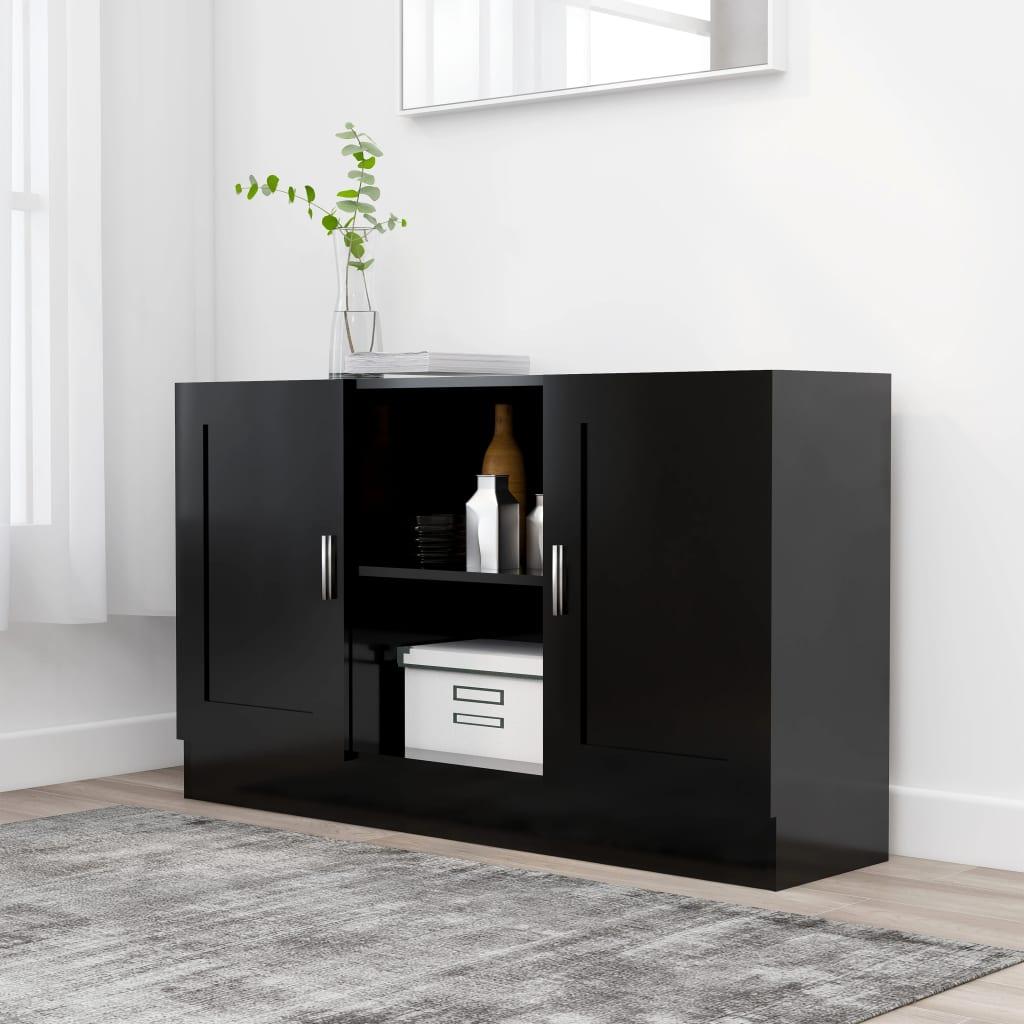 Příborník černý 120 x 30,5 x 70 cm dřevotříska