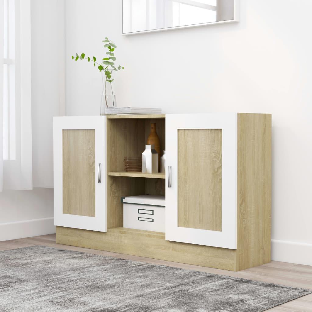 Příborník bílý a dub sonoma 120 x 30,5 x 70 cm dřevotříska