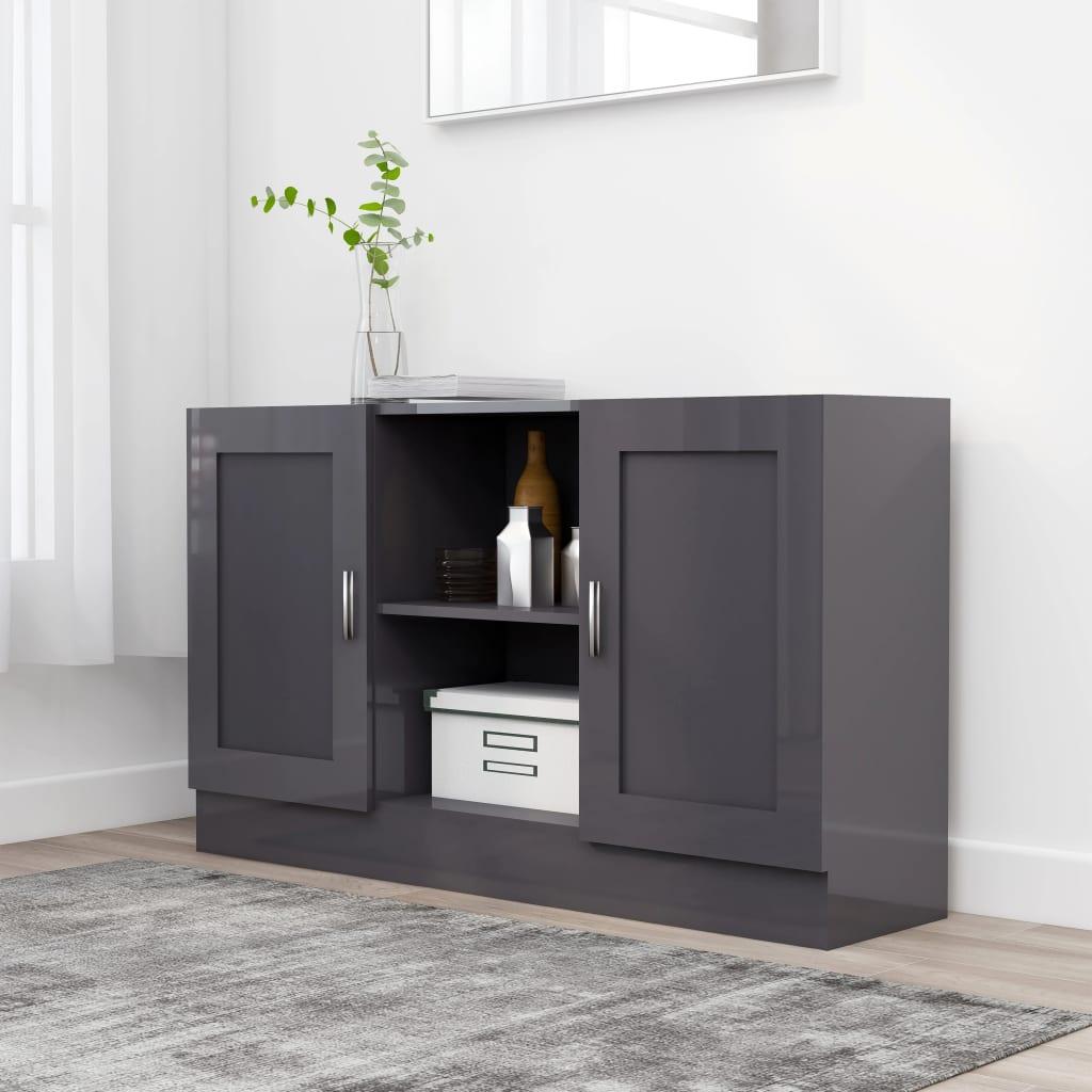 Příborník šedý vysoký lesk 120 x 30,5 x 70 cm dřevotříska