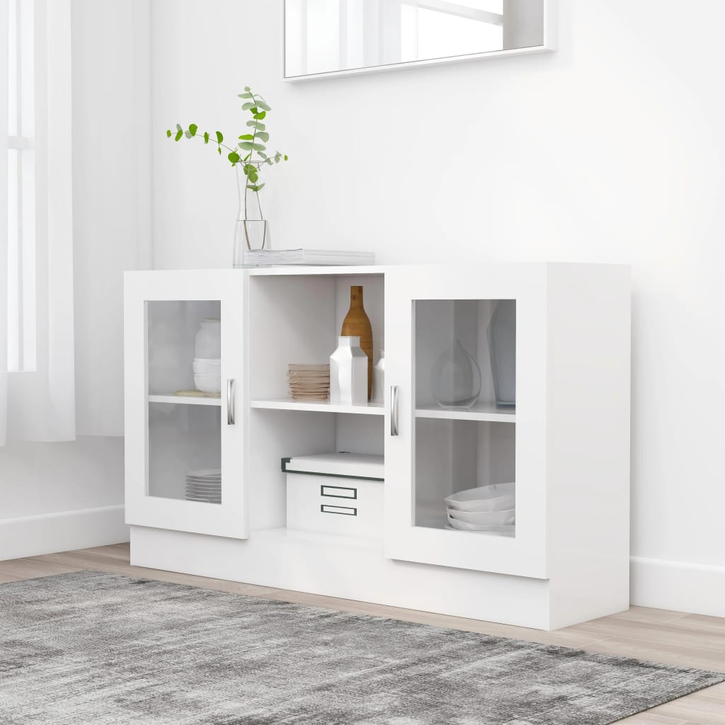 Prosklená skříň bílá 120 x 30,5 x 70 cm dřevotříska