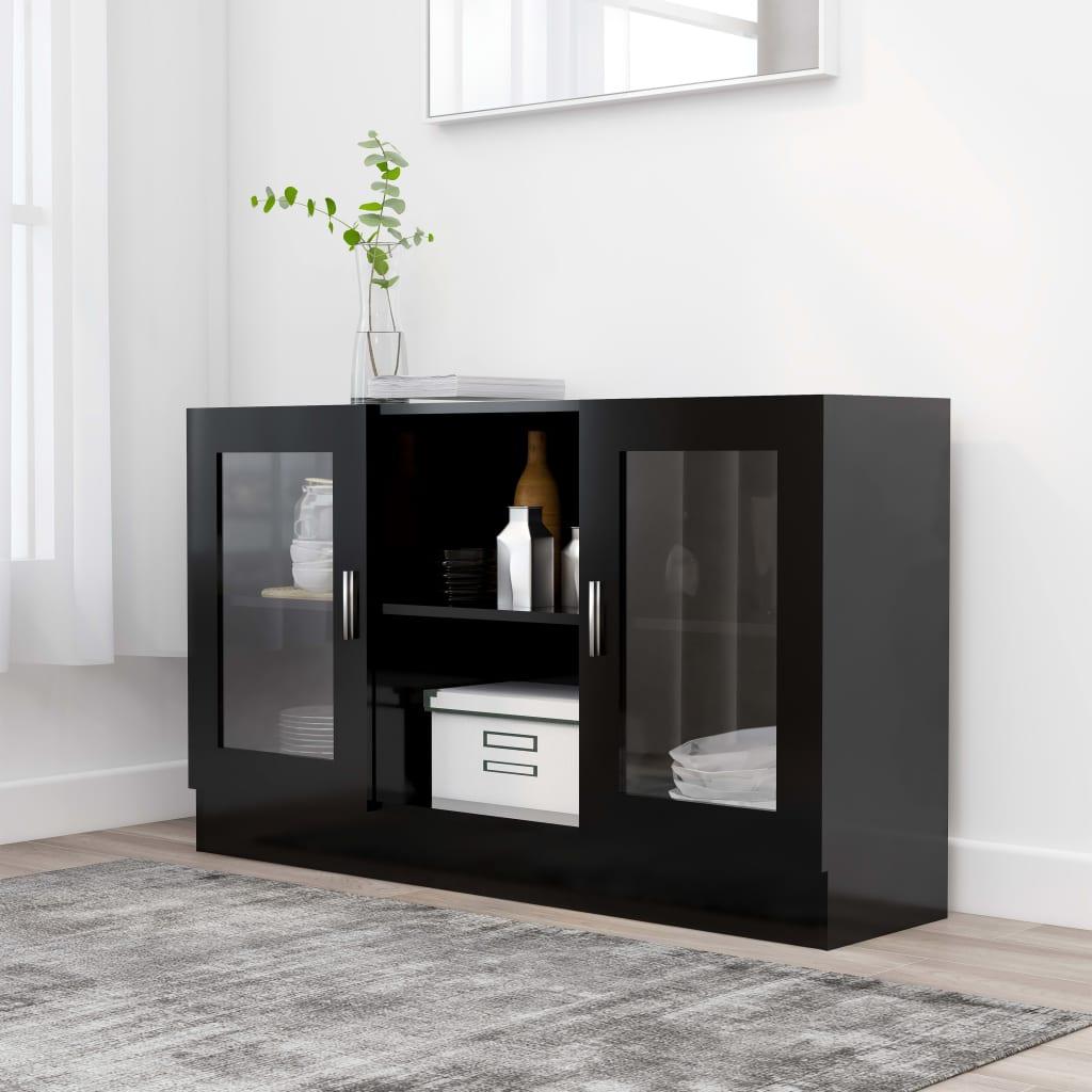 Prosklená skříň černá 120 x 30,5 x 70 cm dřevotříska