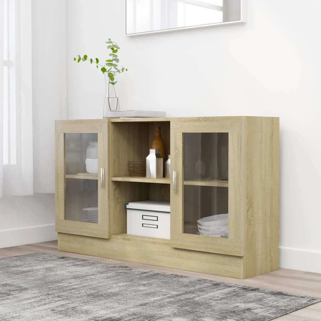 Prosklená skříň dub sonoma 120x30,5x70 cm dřevotříska