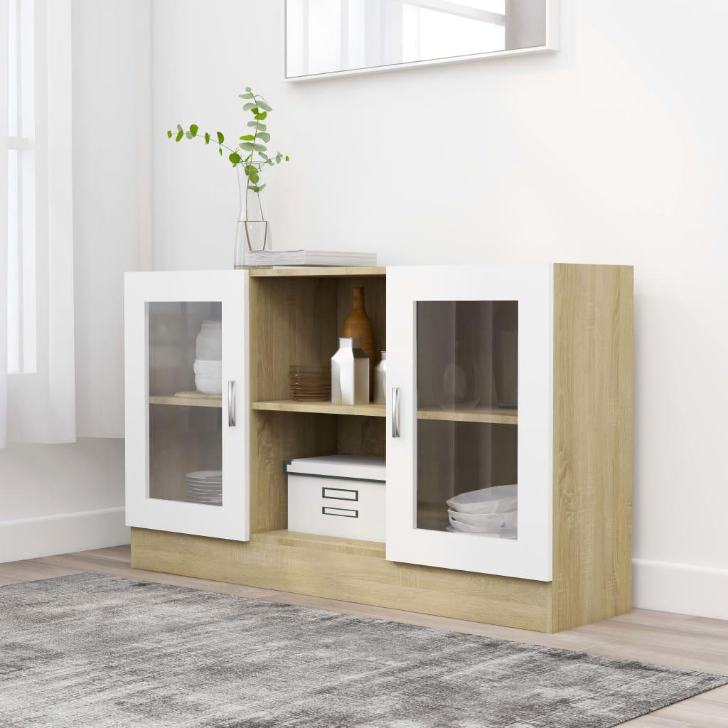 Prosklená skříň bílá a dub sonoma 120x30,5x70 cm dřevotříska