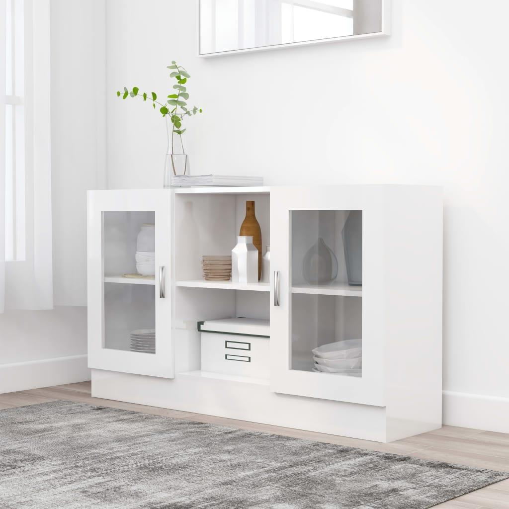 Prosklená skříň bílá vysoký lesk 120 x 30,5 x 70 cm dřevotříska