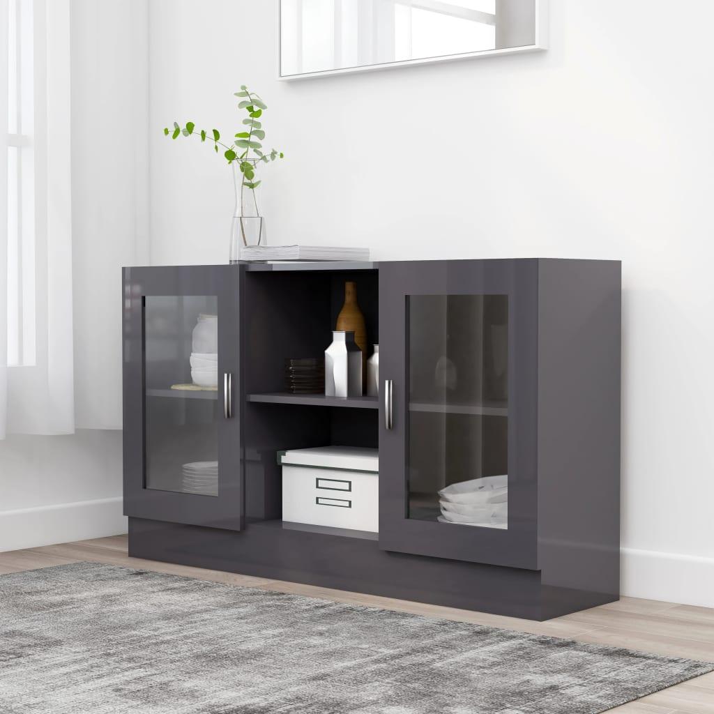 Prosklená skříň šedá vysoký lesk 120 x 30,5 x 70 cm dřevotříska