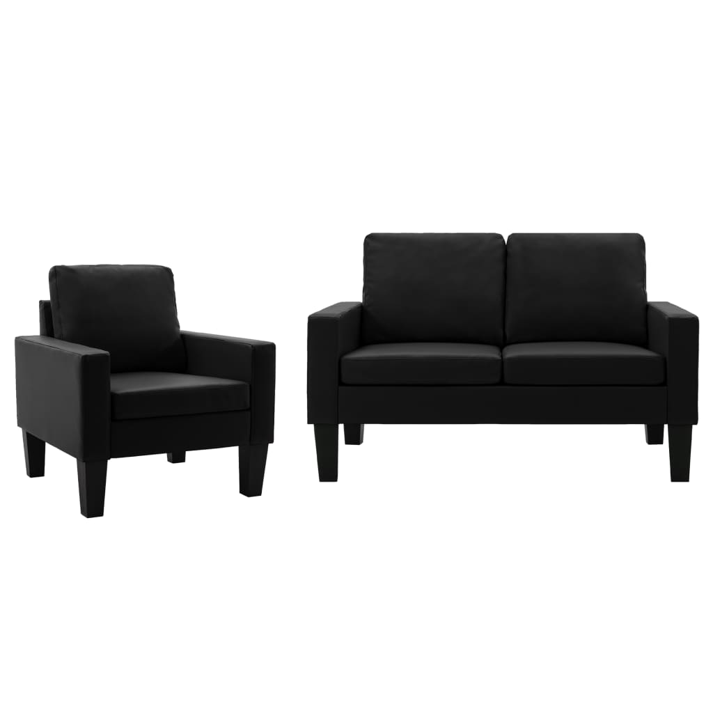 vidaXL Set de canapele, 2 piese, negru, piele ecologică poza vidaxl.ro