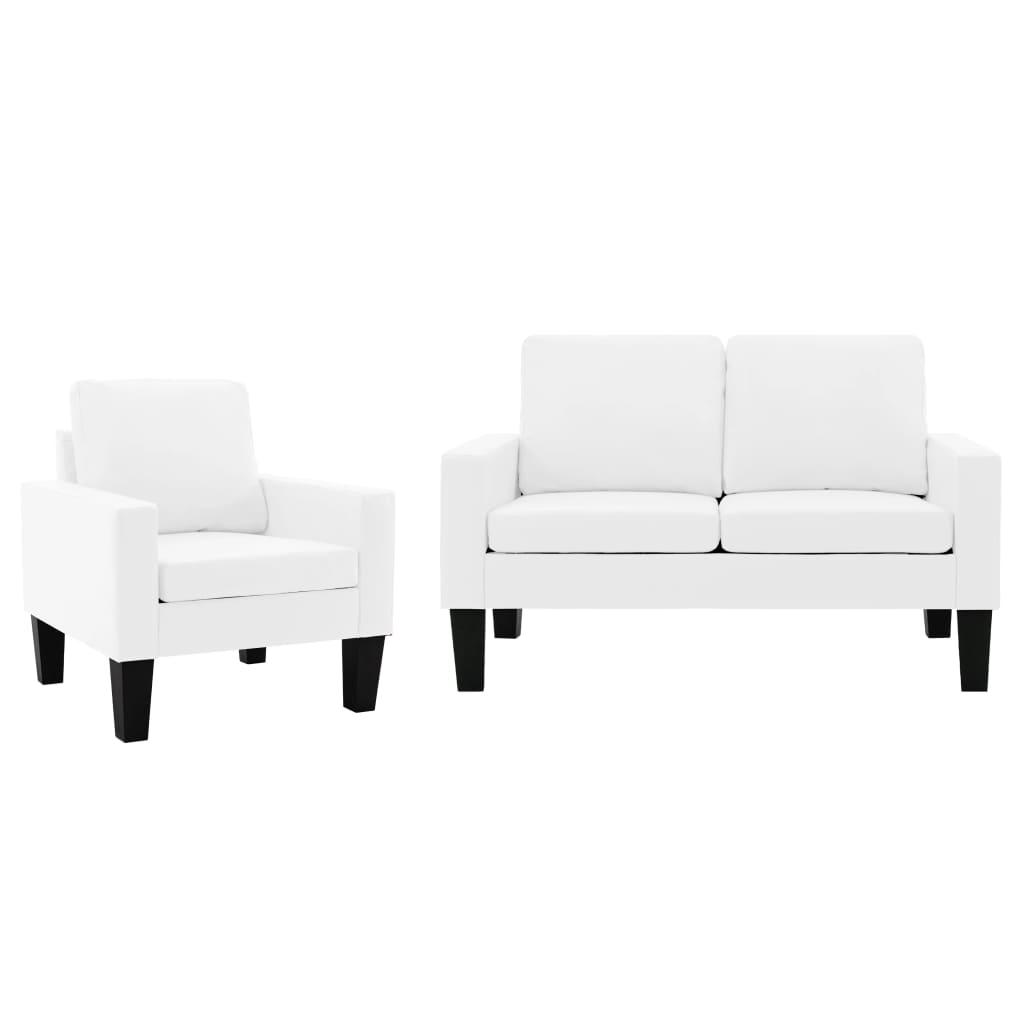 vidaXL Set canapea, 2 piese, alb, piele ecologică poza vidaxl.ro