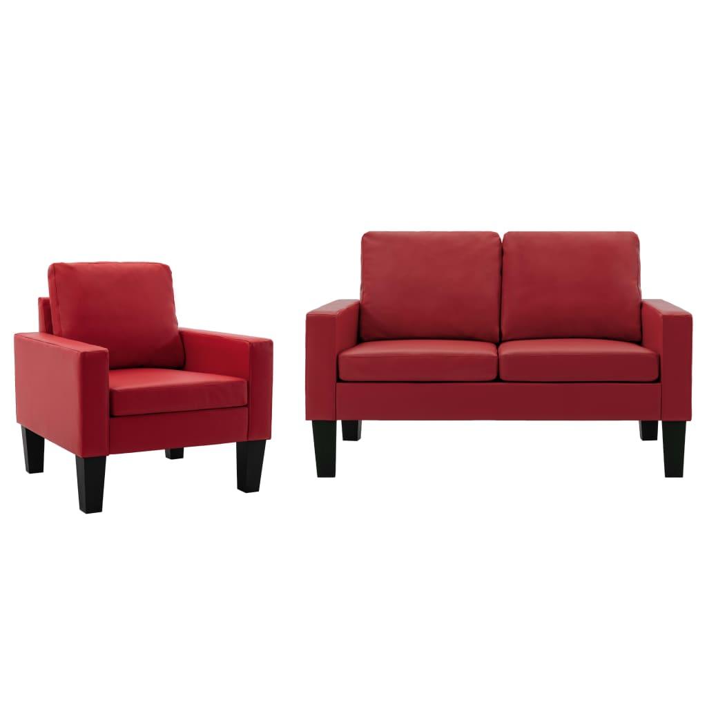 vidaXL Set de canapele, 2 piese, roșu, piele ecologică poza 2021 vidaXL
