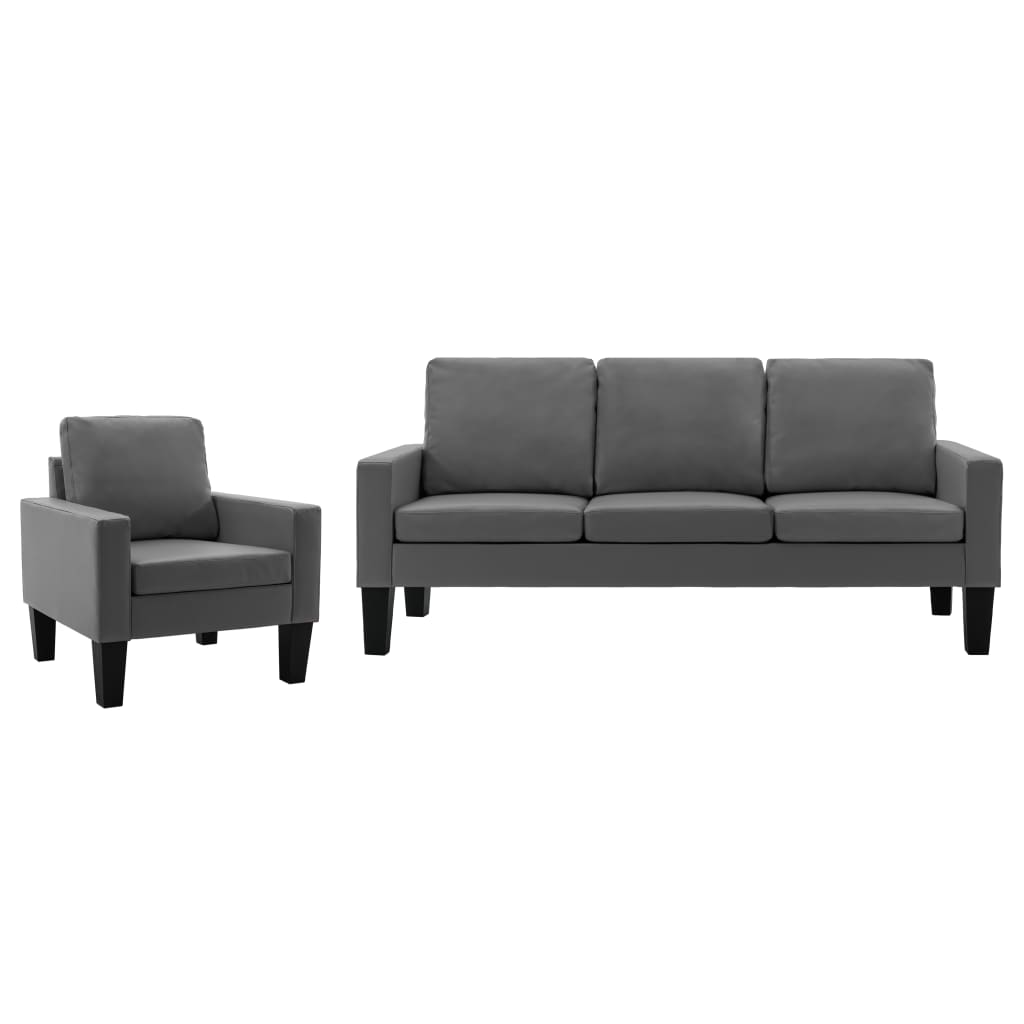 vidaXL Set de canapele, 2 piese, gri, piele ecologică imagine vidaxl.ro