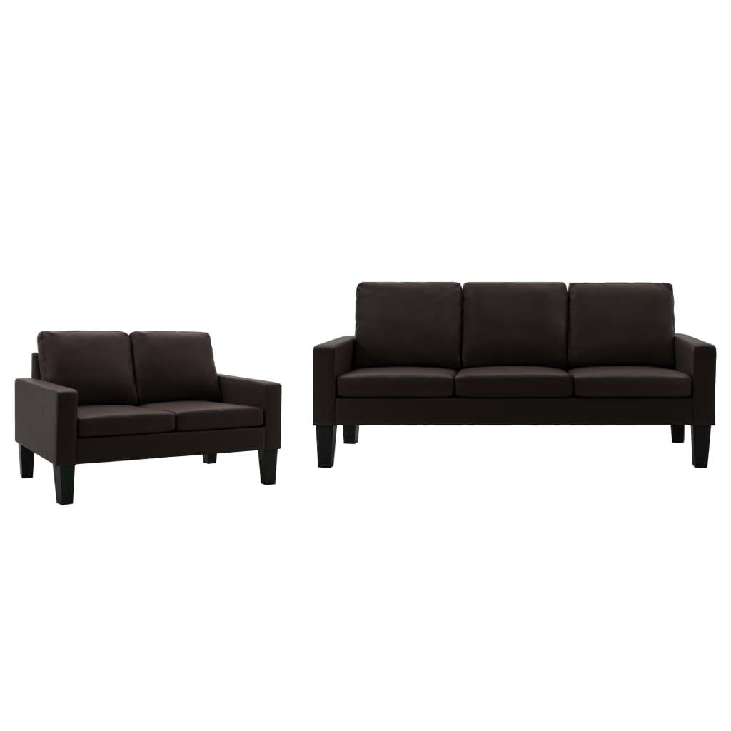 vidaXL Set de canapele, 2 piese, maro, piele ecologică poza 2021 vidaXL