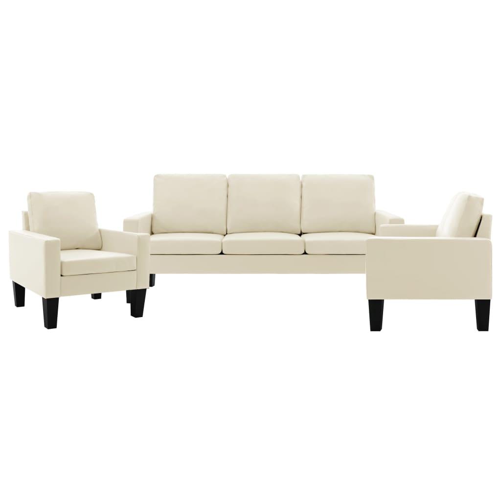 vidaXL Set de canapele, 3 piese, crem, piele ecologică poza vidaxl.ro