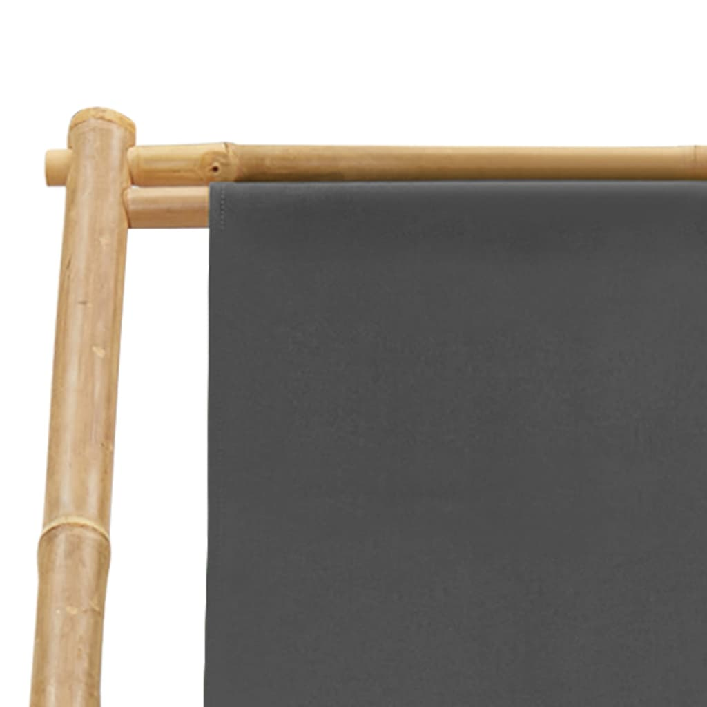 vidaXL Ligstoel bamboe en canvas donkergrijs