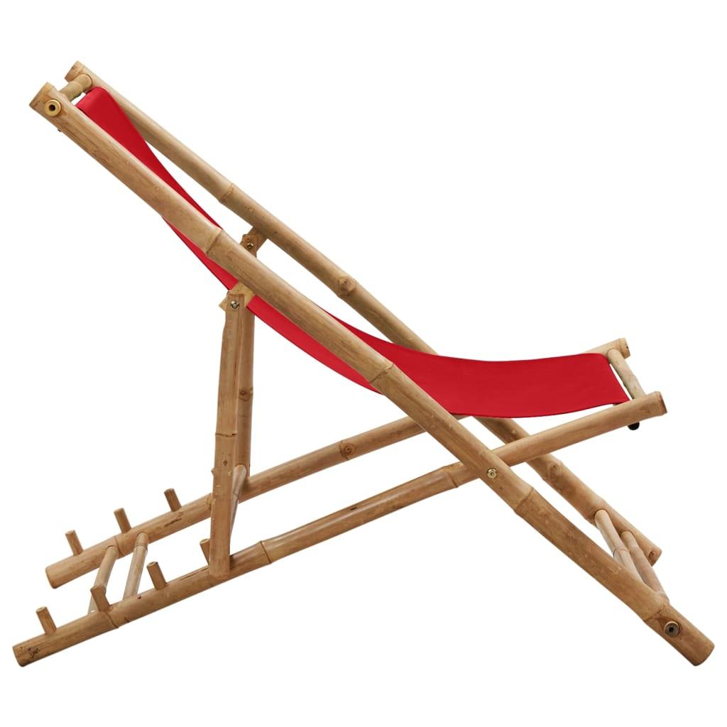 vidaXL Ligstoel bamboe en canvas rood