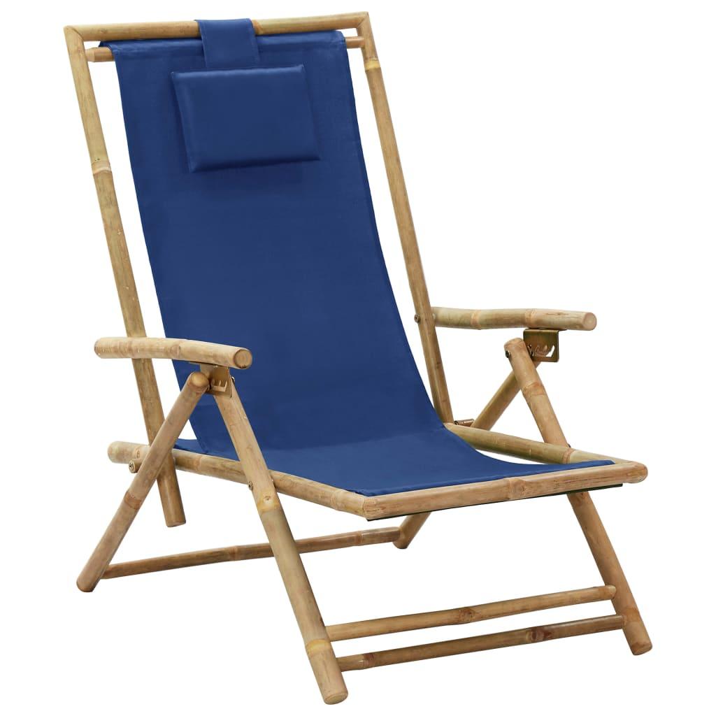 Polohovací relaxační křeslo námořnicky modré bambus a textil