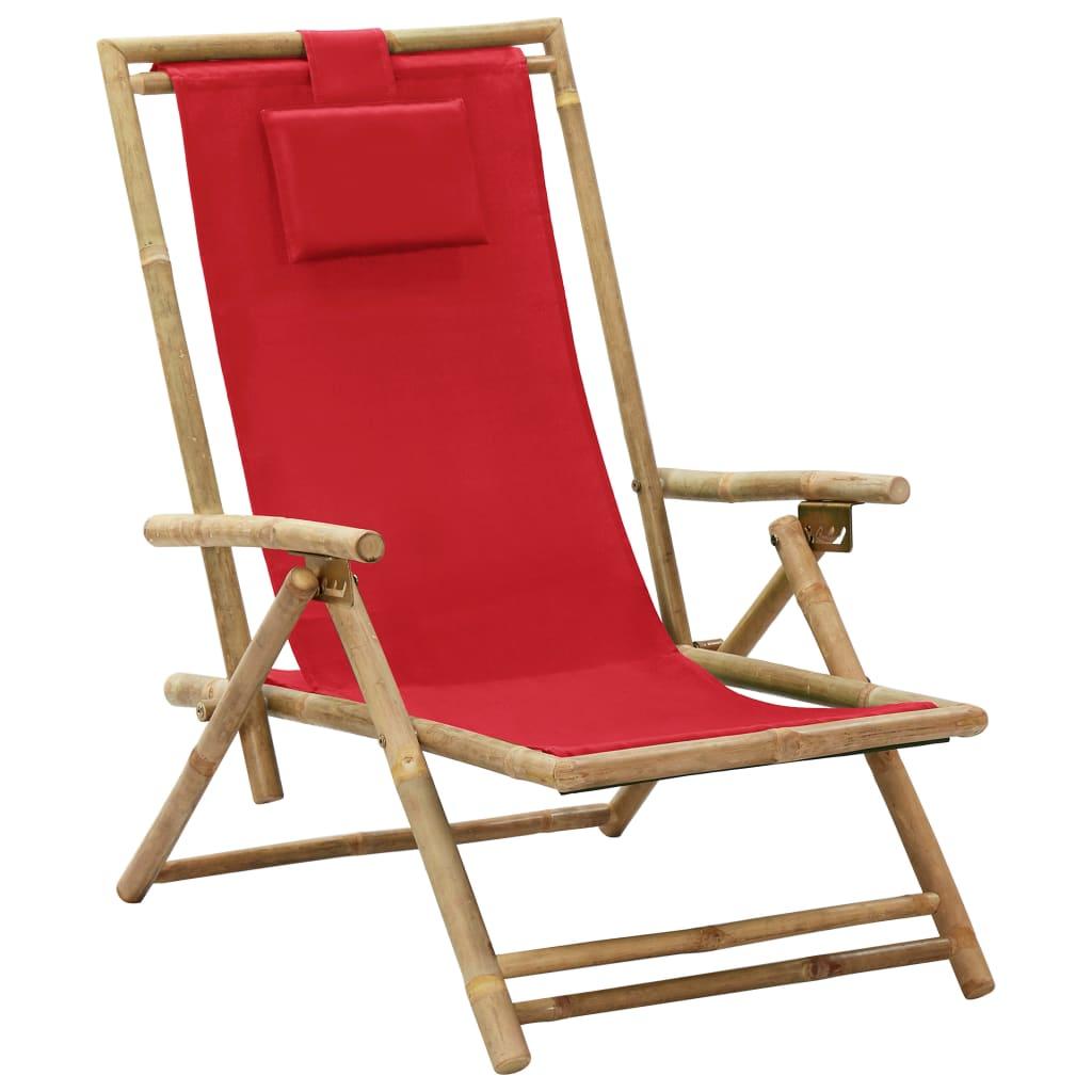 Polohovací relaxační křeslo červené bambus a textil